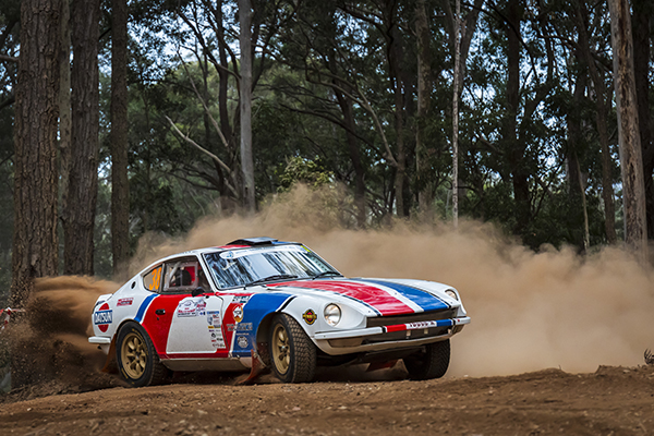Peter Dimmock and Pete Hellwig in their Datsun 240Z (2WD/C3) at the 2019 Rally of the Bay